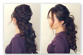 Half Ponytail Hairstyles Easy Half Up Half Down Hairstyle Tutorial Fancy Prom Curly
