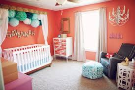 Baby Nursery Ideas for Girls - Bright Orange and Pink