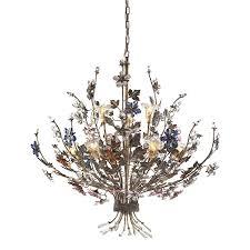 brillare 9 light fl chandelier lighting fixture bronzed rust multi colored crystal florets b11879