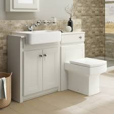 Traditional Bathroom Vanity Unit Basin Sink Back To Wall Toilet