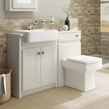 traditional bathroom vanity unit basin sink back to wall toilet btw