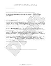 Landlord S Notice Of Non Renewal Of Lease To Tenants With Sample