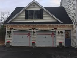 Garage Light Christmas Decorations Wrapped Garage Door Garland Snow Flake Lights Poinsettias