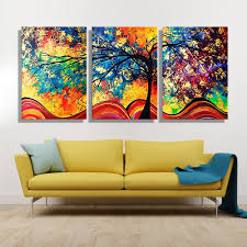 Paintings For Living Room Wall Oil Painting Canvas Colorful Tree Wall Art Decoration Painting