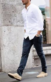 Calvin klein's take on the chelsea boot is both casual and dressy. Men S Style Guide How To Wear Chelsea Boots And Jeans Mens Fashion Jeans Mens Work Outfits Boots And Jeans Men