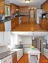 white painted oak kitchen cabinets. DIY White Painted Kitchen Cabinets Reveal Oak G