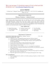 Pharmacy Technician Sample Intern Resume Templates Skills Retail ...