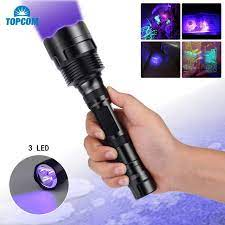 Topcom Mạnh 18W 365nm 395nm LED UV Đèn Pin 3 Đèn LED Cực Tím Đèn Lồng Cứng  Ánh Sáng UV Đèn Pin Với Đen Lọc bắt Bọ Cạp|LED Flashlights