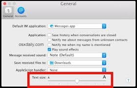change text size increase or decrease text size of messages in os x el capitan yosemite