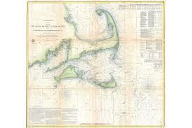 Details About U S Coastal Survey Map Of Cape Cod Nantucket And Marthas Vineyard 1857