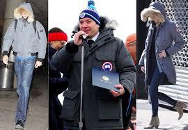 sacha baron cohen jimmy fallon and emma stone wearing canada goose jackets