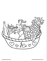 Small Picture Coloring Pages for Kids Learning Nutrition