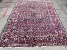 old traditional hand made persian rugs oriental wool faded blue carpet 277x210cm