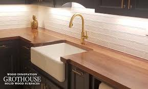 walnut wood kitchen counter for a transitional kitchen display in granite springs new york