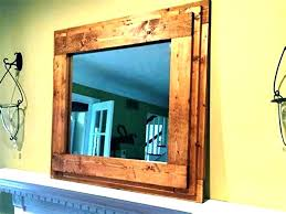 large wood framed wall mirrors mirror vanity unique rustic painted cherry fr