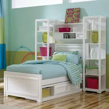 ... Teens: Beautiful kids bedroom, Kids Beds With Storage White Bed Blue  Quilt Wooden Floor Green Wall: ...