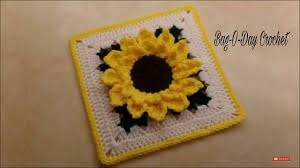 Crochet Sunflower Pattern Stunning How To Crochet Sunflower Granny Square 48 BAGODAY TUTORIAL 48