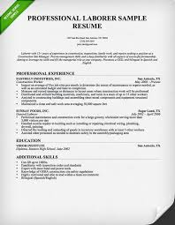 Consruction Laborer Resume Professional
