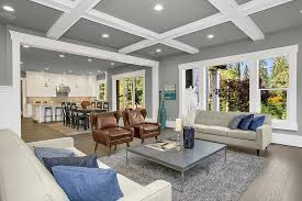 4 x 6 rugs with transitional living room and coffered ceilings decorative pillows gray area rug silver candlesticks modern leather chair