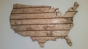 wood usa map wall art