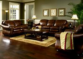 ... Leather Living Room Set Living Room, With Desk Lamp Also Fub Rug And  Wooden Flooring Also Potted House Plants ...