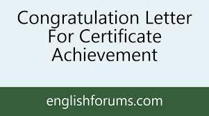 Congratulation Letter For Certificate Achievement