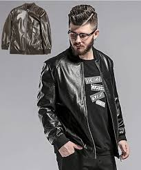 a brand name men s leatherette jacket material 20 of 合皮 80 polyester lining 100 of polyester a color black brown elasticity there is a little