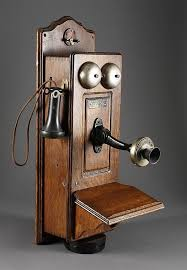 wall mounted antique telephone marked