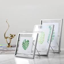 2019 pressed glass floating picture frame nordic metal wire photo frame with cute cat easel stand gold silver black 4x4 4x6 4x7 from casaideacn