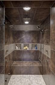 Charming Walk In Showers Without Doors With Black Tile Wall And Wall  Shelves Storage Idea