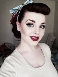 50 s hair and make up 1950 50s beauty black blush bow cute eyeliner