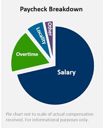 sample pay check break down pie chart 68 salary 25 overtime cbp officer job description