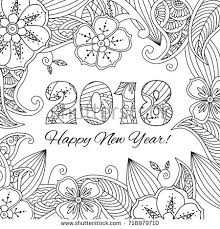 new year card with numbers 2018 on fl background zentangle inspired style zen monochrome