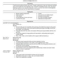 Resume Sample For Server Resume Examples Server Sample Resume Waiter