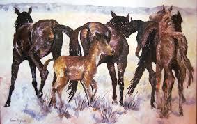 wild desert horses acrylic on canvas