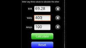 Generator Kva To Amps Chart Kva Calculator App For Android