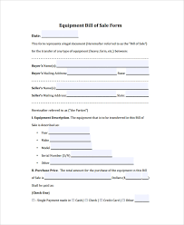 Sample Equipment Bill Of Sale 6 Documents In Pdf Word
