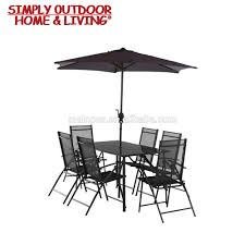 Patio 6 seater wrought iron dining table set parasol for outdoor garden use