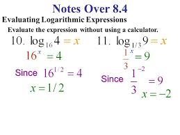 notes over 8 4 evaluating logarithmic expressions evaluate the expression without using a calculator