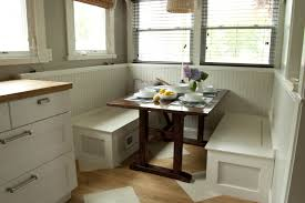 simple diy breakfast nook set with white wood storage bench under seat plus oak table ideas