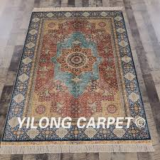Yilong 4 x6 Silk persian hand knotted rug oriental hand knitted