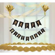 Gold Birthday Pennant Banner Cake Topper Birthday Direct