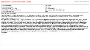 Cost Accountant Job Cover Letter