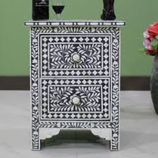 bone inlay nightstand. Delighful Bone Black Bone Inlay Bedside Table U0026 White  Intended Nightstand L