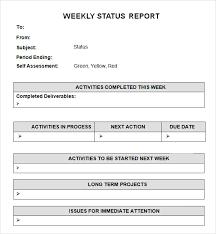 Status Report Format Sample Weekly Status Report Template