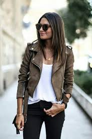 black jeans a white tee and a brown suede jacket