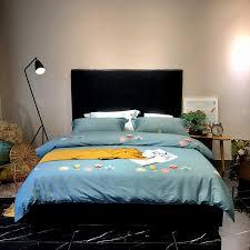 2018 flowers dark green bedding set queen king size egyptian cotton fabric duvet cover flat sheet pillowcases bedlinens toddler bedding crib bedding sets