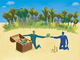 ilration of a business transaction on an island