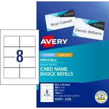 Avery Card Name Badges Refill 86 5 X 55 5mm 200 Cards L7418k
