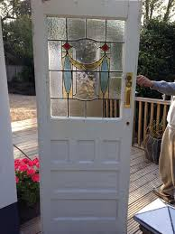 1930s front door reclaimed external wood timber stained glass